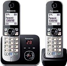 Panasonic KX-TG6822 - Teléfono fijo digital (inalámbrico, identificador de llamadas, pantalla LCD), negro y plateado [Importado de Alemania] [versión importada]