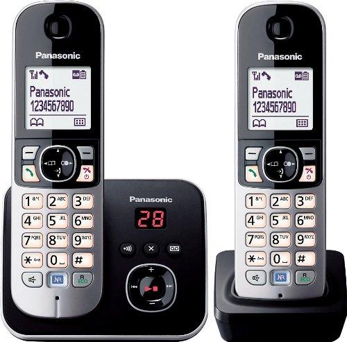 Panasonic KX-TG6822GB DECT draadloze telefoon met antwoordapparaat, 2 telefoons + antwoordapparaat, zwart