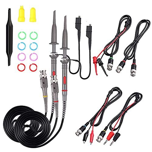 Sondas de clip de osciloscopio, 2 piezas P6100 100 MHz sonda osciloscopio clip alcance con BNC a minigrabber prueba plomo kit 10:1 y 1:1 conmutable