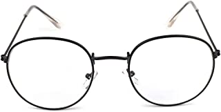 Metal Printing Round Large Frame Glasses Unisex Decorative Spectacles Lightweight Clear Lens Retro Eyewear