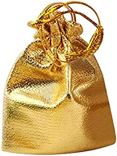 Bags & Wrapping Supplies - 25pcs Drawstring Non Woven Fabric Voile Jewelry Favour Wedding Candy Gift Pouch Bags Golden - & Wrapping Bags Supplies