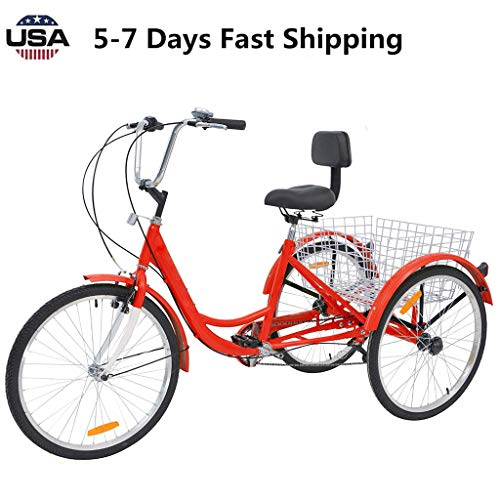 US Fast Shipment Adult Tricycles 7 Speed, Adult 24 Inch Mountain Trikes, 3 Wheel Bikes Bicycles Cruise Trike with Rear Shopping Basket for Seniors, Women, Men (red)