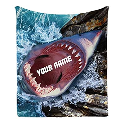 Custom Blanket with Name Text,Personalized Angry White Shark Super Soft Fleece Throw Blanket for Couch Sofa Bed (50 X 60 inches)