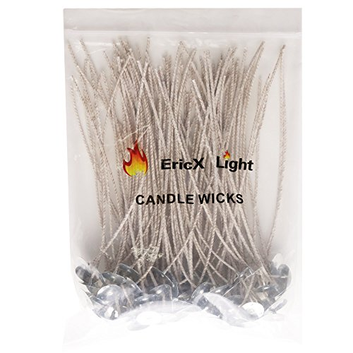 EricX Light 100 Piece 8 inch Soy Wax Candle Wick,Cotton & Paper Interwoven core,Large,for Candle Making,Candle DIY