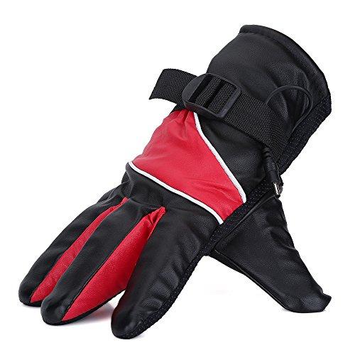 Guantes térmicos para motocicleta para hombres, mujeres, equitación, caza, acampada, senderismo, pesca, 12 V, guantes térmicos, caza al aire libre, carreras de esquí(rojo)