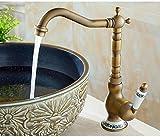 Grifo de baño Acabado en bronce antiguo Patrón de flor de cerámica Grifo de lavabo de latón Grifos de agua de una manija