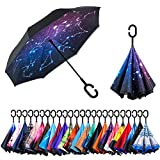 NewSight Reverse Umbrella, Double Layer Inverted Umbrella Upside Down, C Shape Handle, Self