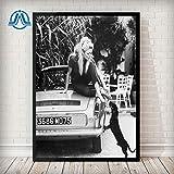 Puzzle 1000 piezas Fotos de modelos famosos en blanco y negro imágenes vintage arte y decoración de paredes Brigitte Bardot póster de moda francesa impresiones en lienzo puzzl50x75cm(20x30inch)