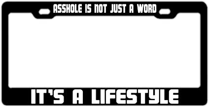 phygthoug Novely License Plate Frame- Custom Vanity Design Corful License Plate Frame 12×6 in Asshole is Not Just A Word It's A Lifestyle Black