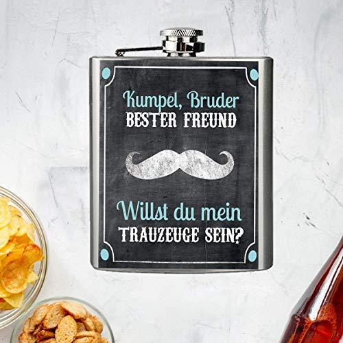 """Edelstahl Flachmann mit Schraubverschlussdeckel""""Willst du mein Trauzeuge sein"""" 196ml zum Befüllen für Bruder - besten Freund - Trauzeugen - Kumpel für JGA - Junggesellenabschied - Polterabend"""