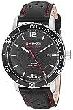 Wenger Men's Roadster Black Night Stainless Steel Swiss-Quartz Leather Strap, 21.1 Casual Watch (Model: 01.1841.101)