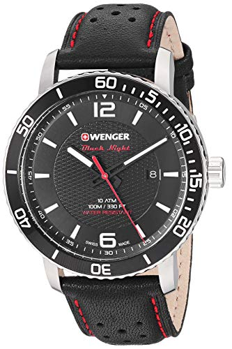 Wenger Men's Roadster Black Night Stainless Steel Swiss-Quartz Leather Strap, 21.1 Casual Watch...