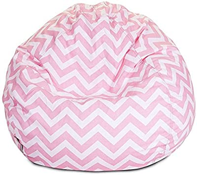 Majestic Home Goods Classic Bean Bag Chair - Chevron Giant Classic Bean Bags for Small Adults and Kids (28 x 28 x 22 Inches) (Baby Pink) [並行輸入品]