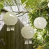 lights4fun - set di 3 lanterne cinesi 30cm con led bianco caldo ad energia solare per giardino ed esterni