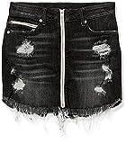 True Religion Women's High Rise Skirt with Zip Front, Garter Black, S