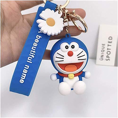 ZKZKK Llavero Creativo de Metal Llaveros de Dibujos Animados Caliente Cat de Anime Creativo Doraemon Llavero Llavero Colgante para niños Bolsa Llavero Regalos Amantes Bolsa Colgante (Color : Red)