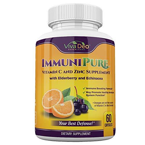 ImmuniPure Immunity Aid - Powerhouse 10x Daily Immune Support - Potent, Pure, Elderberry, Zinc, Vitamin C, Echinacea, Turmeric, Probiotic, Garlic Supplement - 60 Veggie Capsules
