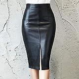 SHDSHD Falda Negra de Cuero PU para Mujer Nuevo Midi Sexy Fa