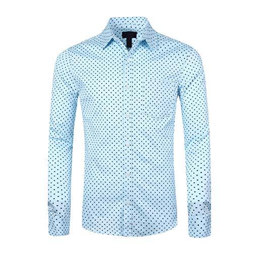 SOOPO Camisa de Manga Larga para Hombres Estampada de Puntos Camisa Lisa y Regular, Rosa, L