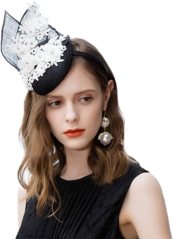 FADVES Womens Sinamay Pillbox Hat Cocktail Derby Wedding Tea Party Hat