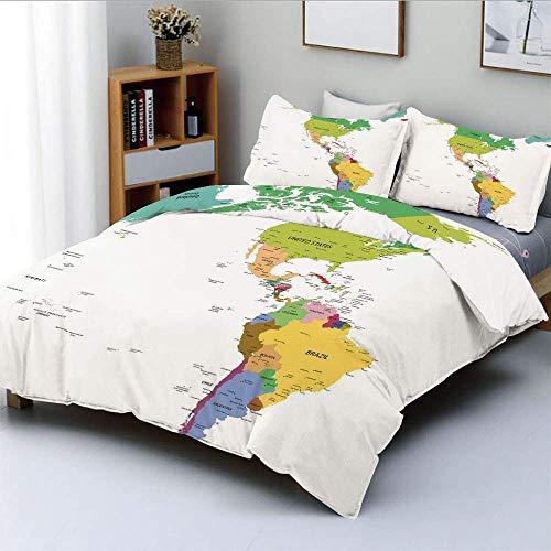 Juego de funda nórdica, mapa de América del Sur y del Norte con países, capitales y ciudades principales. Diseño colorido Juego de ropa de cama decorativa, decorativa, de 3 piezas con funda de almohad