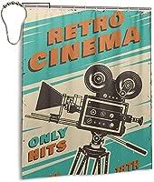シネマ映画ポスターシャワーカーテン、バスルームカーテン装飾用ポリエステル防水ファブリックバスタブセットフック付き60 X72インチ-鉄-ワンサイズ