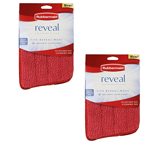 Rubbermaid - Reveal Mop Microfiber Cleaning Pad, Red, 15' Wide (2-Pack)