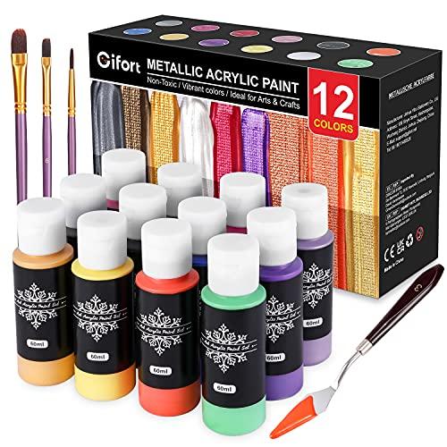 Gifort Acrylfarben Metallic, 12 x 60 ML Metallic Acrylfarben Set mit 3 Pinseln für Künstler Anfänger, Acrylmalerei Künstlerbedarf Ungiftig für Stoff Leinwand Holz Handwerk