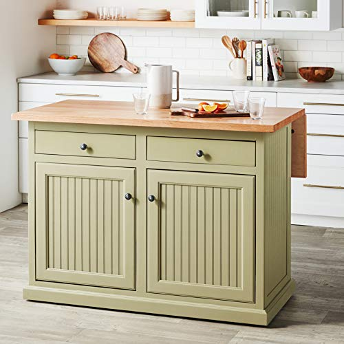 Kitchen Island with Flip Up Top and Two Drawers Sage Painted Finish