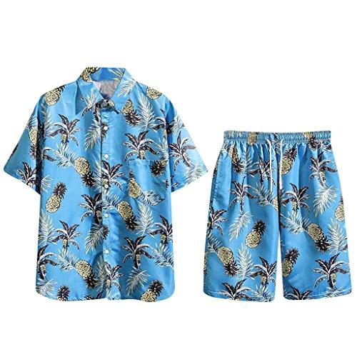 Clothing Herren Fashion 2021 Sommer Badeshorts und Hemd Set groß und hoch 2-teilig Outfit Kurzarm Hoodie Sets für Herren Gr. XXL, blau