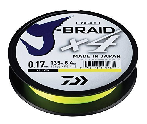 Daiwa X4-Braid Trecciato X4 Braid Yellow 135 m,Diametro mm 0,10 Carico 3,8 kg