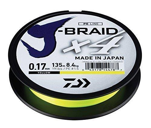 Daiwa J-trenza X4 Trenzado Sedal - Todas Las Tallas & Colores - Amarillo, 0.29mm 135m