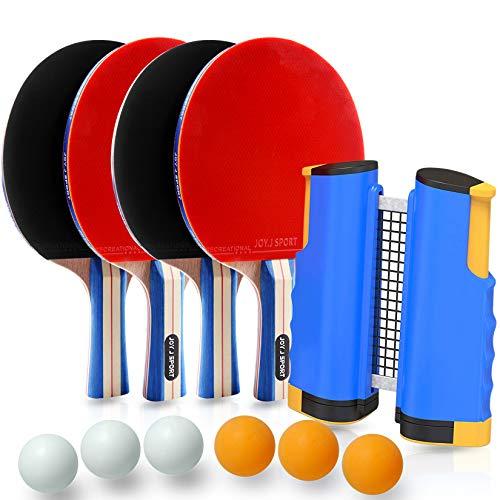 Set di Racchette da Ping Pong con 4 Racchette + 6 Palline + 1 Regolabile Rete da Ping Pong, Paletta TT per casa e Gioco all'aperto, Adatto a Qualsiasi Tavolo - Joy.J