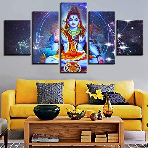 RuiYa Wall Art Frame 5 Canvas Painting Indian Religious god Shiva Painting Living Room Decoration Decor Print Poster Murals Bedroom Wallpaper HD Impression Modular Abstract Art Live Home Canv