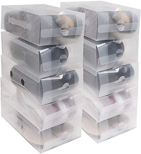 GOLRISEN Caja de zapatos (20 piezas) – Cajas de zapatos reutilizables de plástico transparente apilables y plegables para mujeres y hombres – Organizador de zapatos transparente
