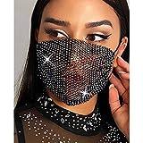 Bohend Moda Cristal Máscara Diamante de imitación Malla Mascaras Elástico Mascarada Paño Costoso Partido Club nocturno Máscara Cadena Joyería para Las mujeres y las niñas(Negro)