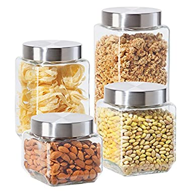 Oggi 4 Piece Square Glass Canister Set with Stainless Steel Screw-on Lids, Clear