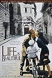 Póster de la película 'La vida es bella', diseño con texto en inglés, aproximadamente 30,4x 20,3 cm
