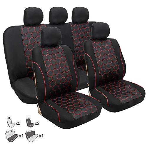 9PCS Auto-Sitzbezüge Set Universal Schwarz Grau | Auto-Schonbezüge für Sommer & Winter | Auto-Sitzschoner Komplettset für die Vordersitze & Rückbank - Quiet.T