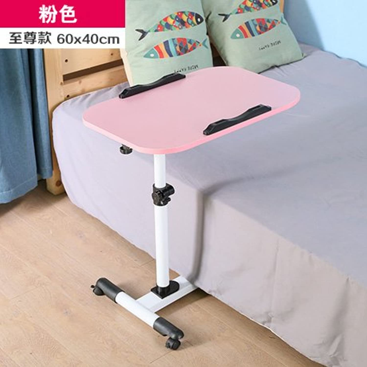 Portable Bedside Table for Notebook Computer Table Bed Sloping Sofa Side Table Tea Table,Pink