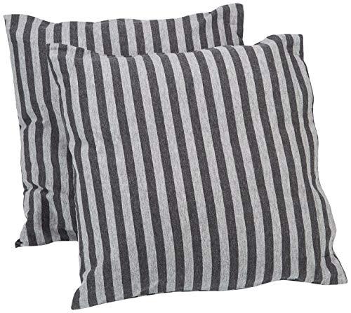 AmazonBasics - Kissenbezüge, Jersey, 2er-Pack, gestreift, 40 x 40 cm, Dunkelgrau