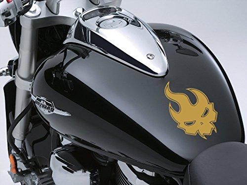 Evil flamme Moto Réservoir à carburant Sticker voiture en 100 mm x 160 mm – Or