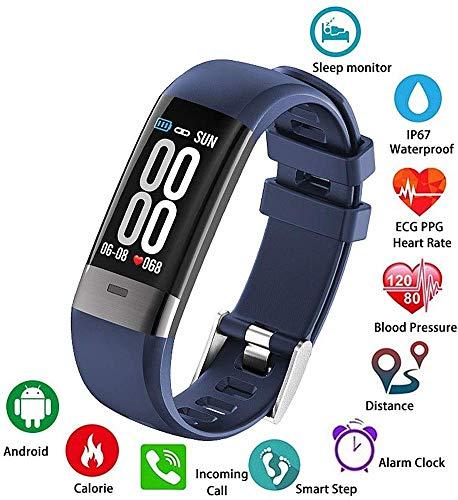 L.TSA Smart Watch0.96 OLED-Bildschirm EKG Blutdruck Pulsmesser IP67 Armbanduhr Fitness-Tracking-Gerät Schrittzähler Reiten Sport BraceletBlue