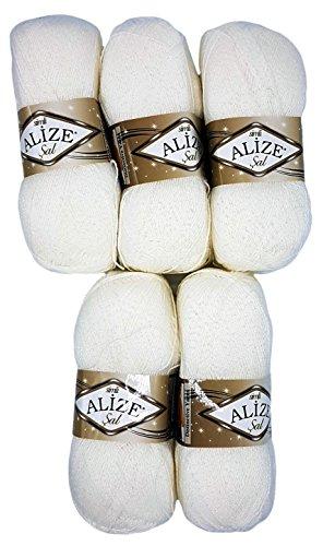 Alize 5 x 100 g Glitzerwolle SAL zum Stricken und Häkeln, 500 Gramm Metallic – Wolle (weiß 55)