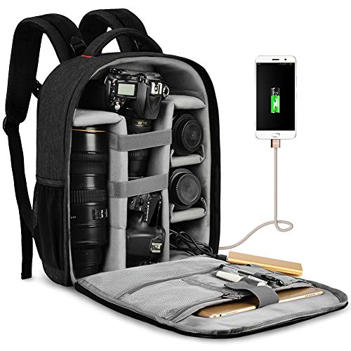 """CADeN Waterproof DSLR Camera Bag Backpack Professional Large Camera Backpack with Laptop Compartment 14"""",Tripod Holder, USB Charging and Rain Cover for Nikon Canon Sony Mirrorless Cameras and Lenses"""