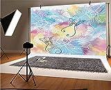 Colorido telón de fondo de vinilo de 20 x 10 pies, telón de fondo romántico, con características de difuminación de neblina y fondo de asta de polilla para decoración del hogar al aire libre