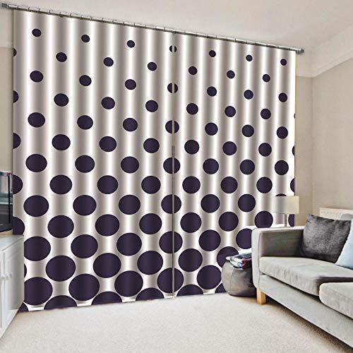 Cortinas Blackout Ventanas Opacas Termicas Aislantes para salón, Cocina habitación y Dormitorio,Puntos Negros 220x215 cm (Ancho x Alto)