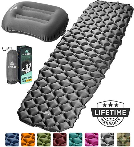 HiHiker Camping Sleeping Pad + Inflatable Travel Pillow  Ultralight Backpacking Air Mattress w/Compact Carrying Bag...