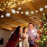 Matogle 3er hängende weiße Papier Schneeflocken 3 x 3 Meter Weihnachten 3D Girlande Schneeflocken Deko zum aufhängen, wiederverwendbar und dekorativ, für Winterparty Outdoor Neujahr Hochzeit - 4