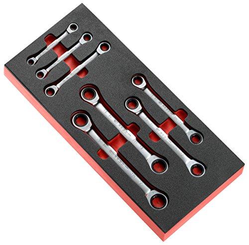 FACOM Schaumstoffmodul mit 6 Knarren Ringschlüsseln, 12 Kant, 6-19 mm metrisch, 1 Stück, MODM.64J7